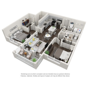 Rendering of the The Harborside floor plan layout