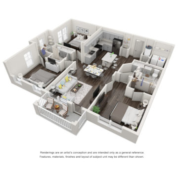 Rendering of the The Retreat floor plan layout