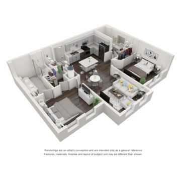Apartment 1-407 floor plan
