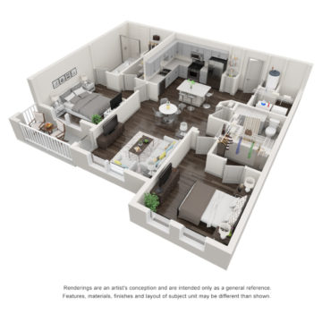 Rendering of the The Tidewater floor plan layout